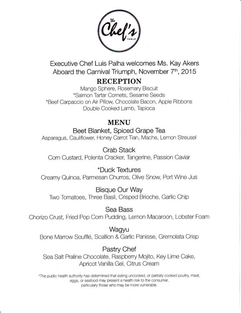 Carnival Triumph: Chef's Table